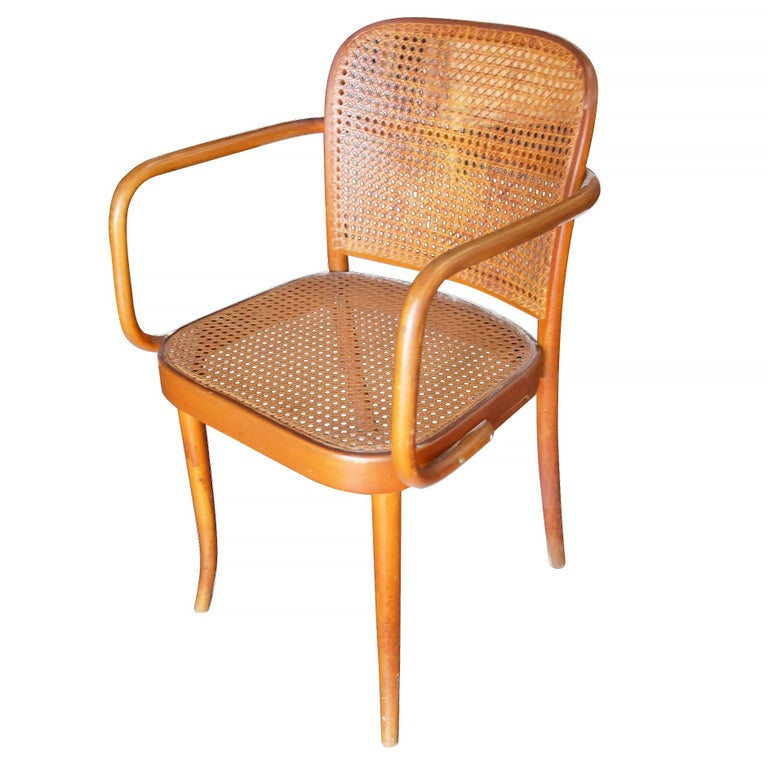 Set Of Four Thonet Number 811 Bentwood Cane Chair With Bent Beech Wood Frame