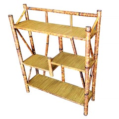 Restored Tiger Bamboo Four-Tier Bookshelf