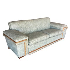 Mid-Century Sofa in the Milo Baughman Style with Walnut Trim
