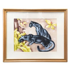 Tropical Airbrush Watercolor Panther Painting Signed Peters