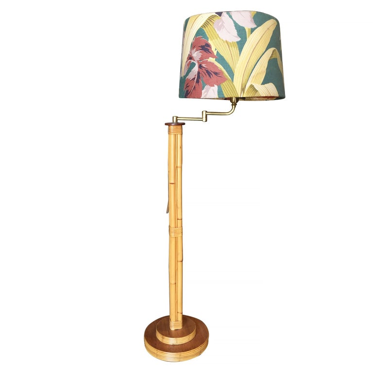 Restored mid century rattan pole reading floor lamp with tropical restored mid century rattan pole reading floor lamp with tropical lamp shade for sale aloadofball Image collections