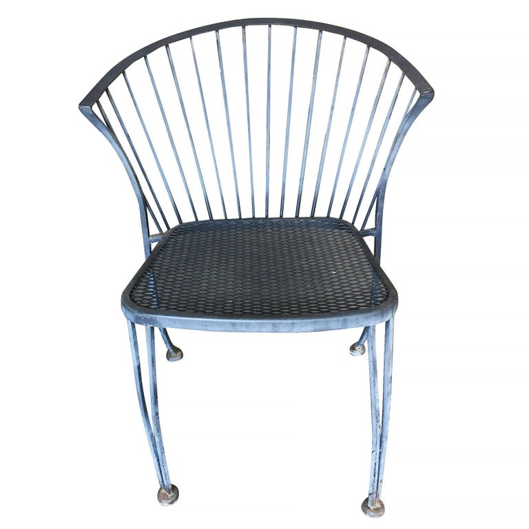 Mid-Century Modern Woodard Pinecrest Iron Patio/Outdoor Lounge Chair, Set of Four **Saturday Sale** For Sale
