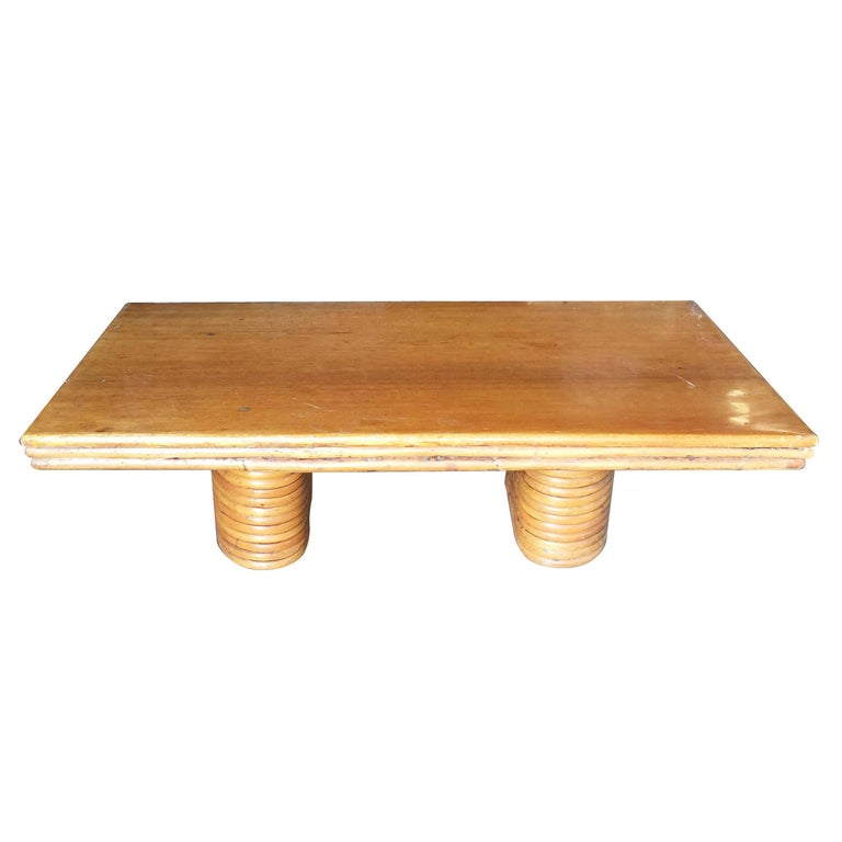 Wicker Coffee Table Base: Large Rectangle Rattan Coffee Table With Mahogany Top And