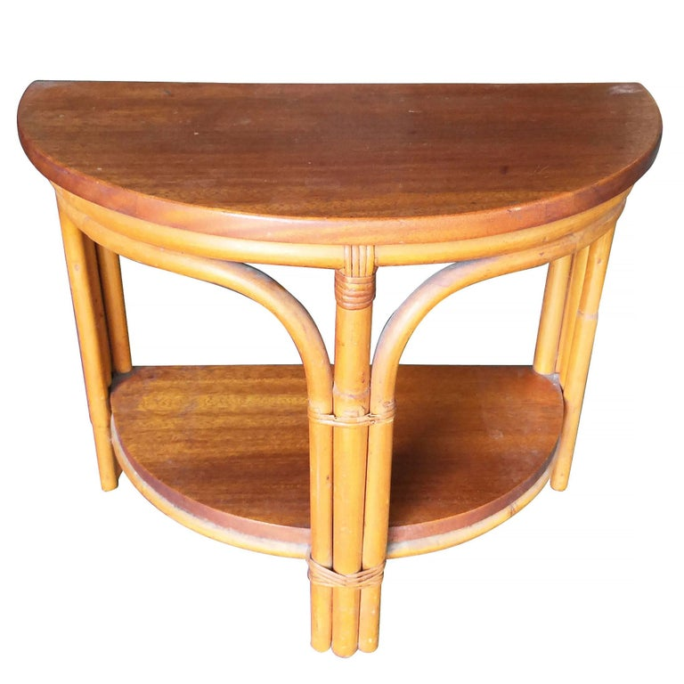 Mid-Century Modern Restored Half Round Rattan Side Table with Mahogany Top For Sale