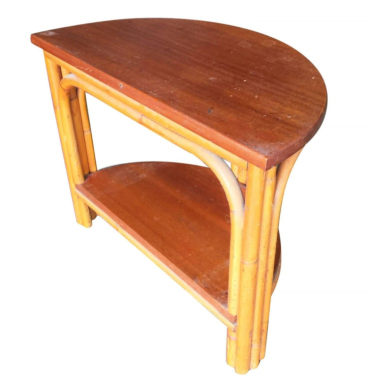 American Restored Half Round Rattan Side Table with Mahogany Top For Sale