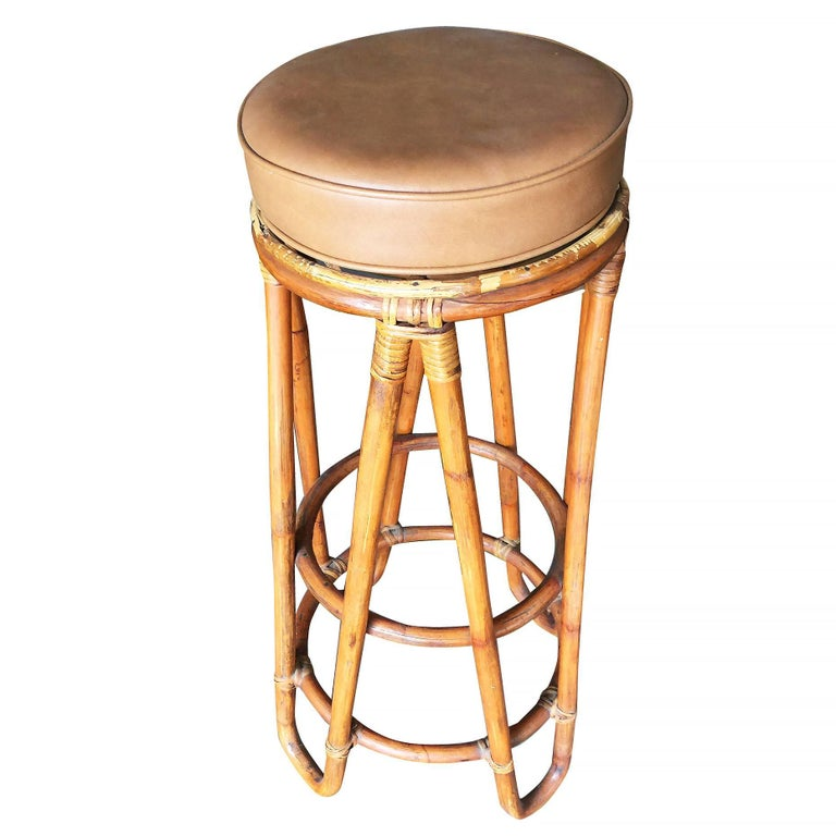 Set Of Four Hair Pin Leg Rattan Bar Stool For Sale At 1stdibs