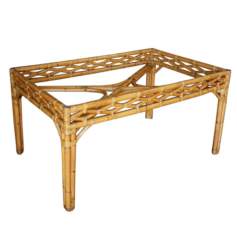 Midcentury Large Rattan Dining Table with Glass Top For Sale