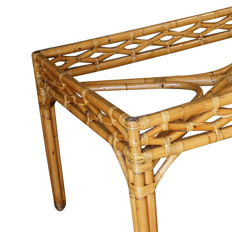 Mid-20th Century Midcentury Large Rattan Dining Table with Glass Top For Sale