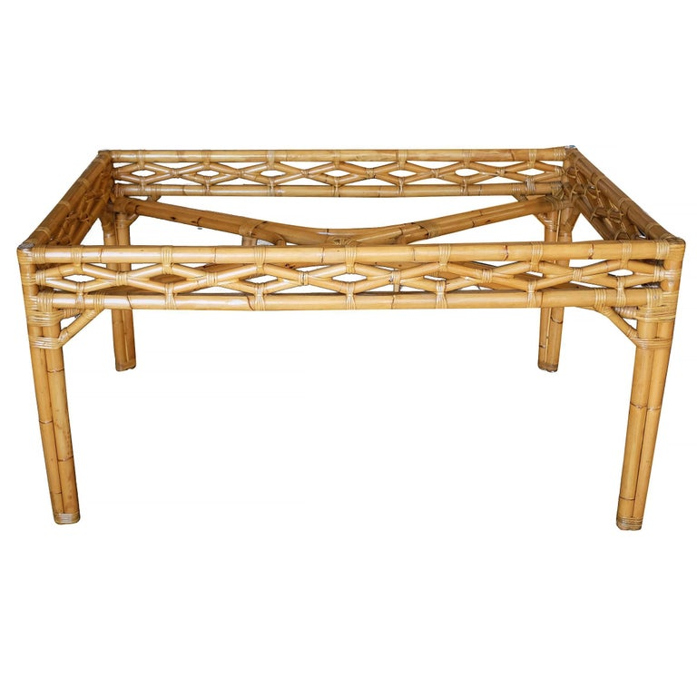 Mid-Century Modern Midcentury Large Rattan Dining Table with Glass Top For Sale