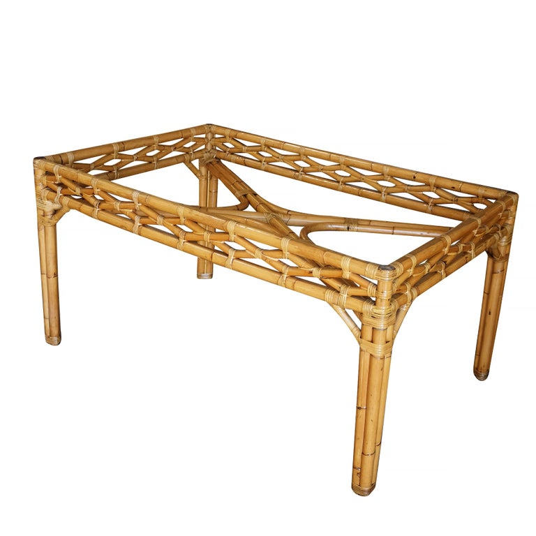 American Midcentury Large Rattan Dining Table with Glass Top For Sale