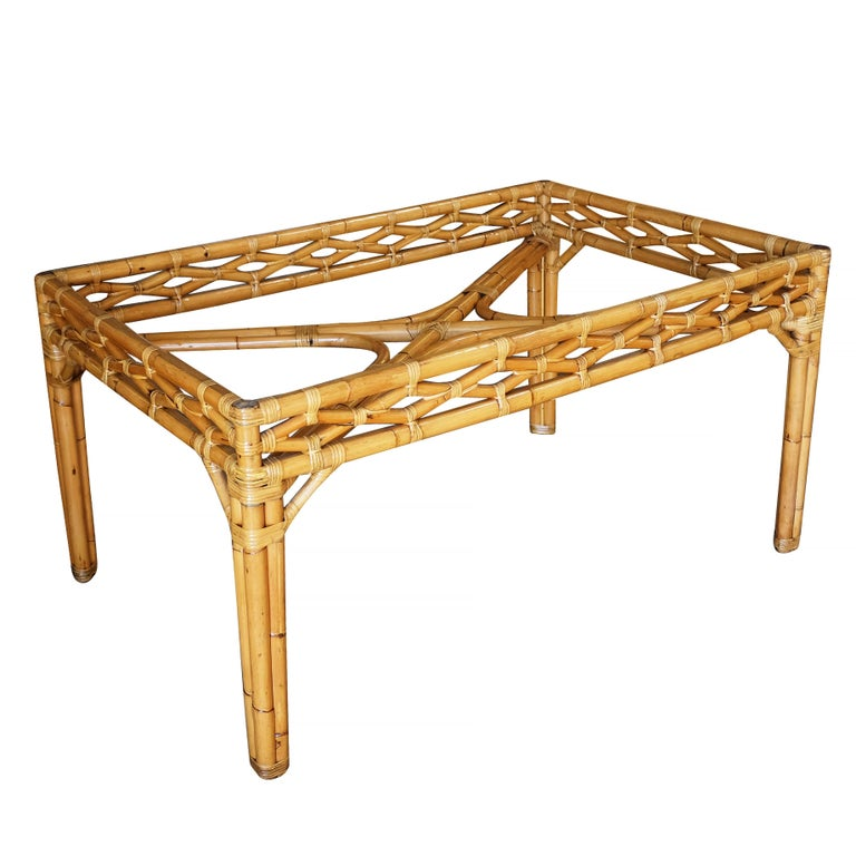 Midcentury Large Rattan Dining Table with Glass Top In Excellent Condition For Sale In Van Nuys, CA