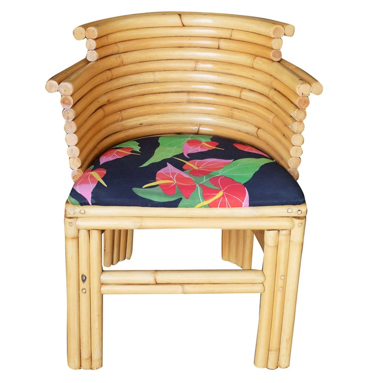 American Paul Frankl Streamline Art Deco Rattan Dining Side Chair, Set of Four For Sale