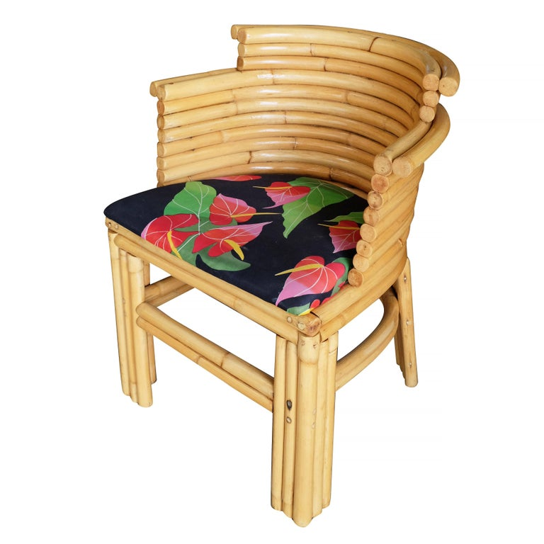 Paul Frankl Streamline Art Deco Rattan Dining Side Chair, Set of Four In Good Condition For Sale In Van Nuys, CA
