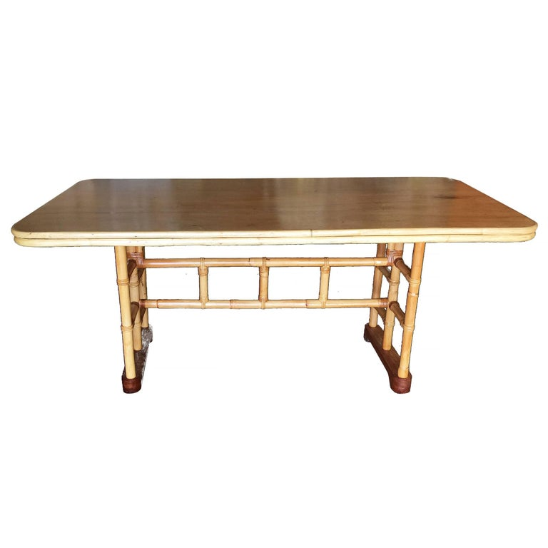 Midcentury six person rattan and mahogany dining table for Dining room table 6 person