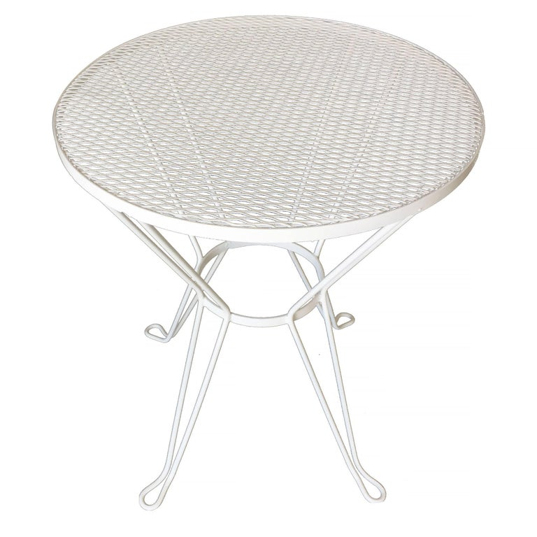 Woodard Round Mesh Steel Outdoor Patio Side Table Circa 1950 For