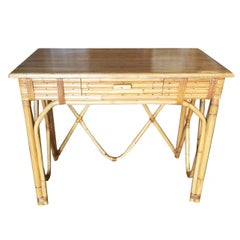 Rattan and Mahogany Secretary Wave Desk