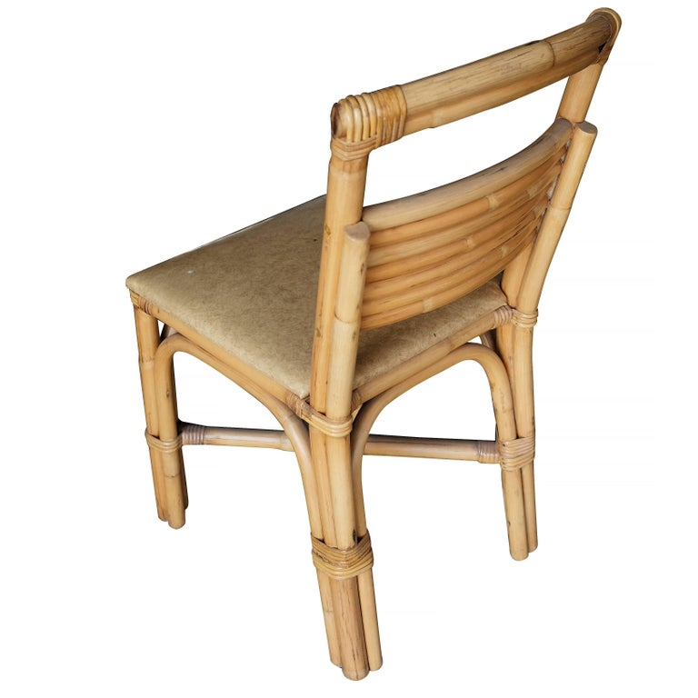 American Restored Slat Legs and Back Rattan Dining Chair, Set of Six For Sale