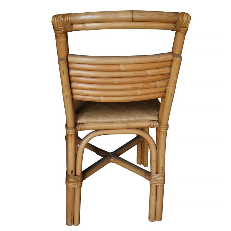 Restored Slat Legs and Back Rattan Dining Chair, Set of Six In Excellent Condition For Sale In Van Nuys, CA