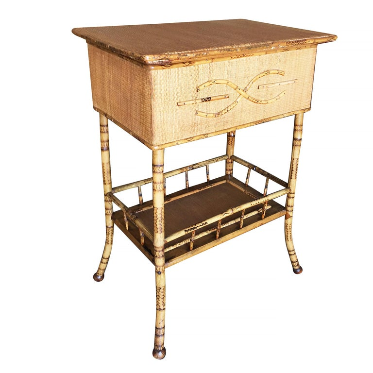 Restored Antique Tiger Bamboo Pedestal with Storage Box For Sale - Restored Antique Tiger Bamboo Pedestal With Storage Box For Sale At