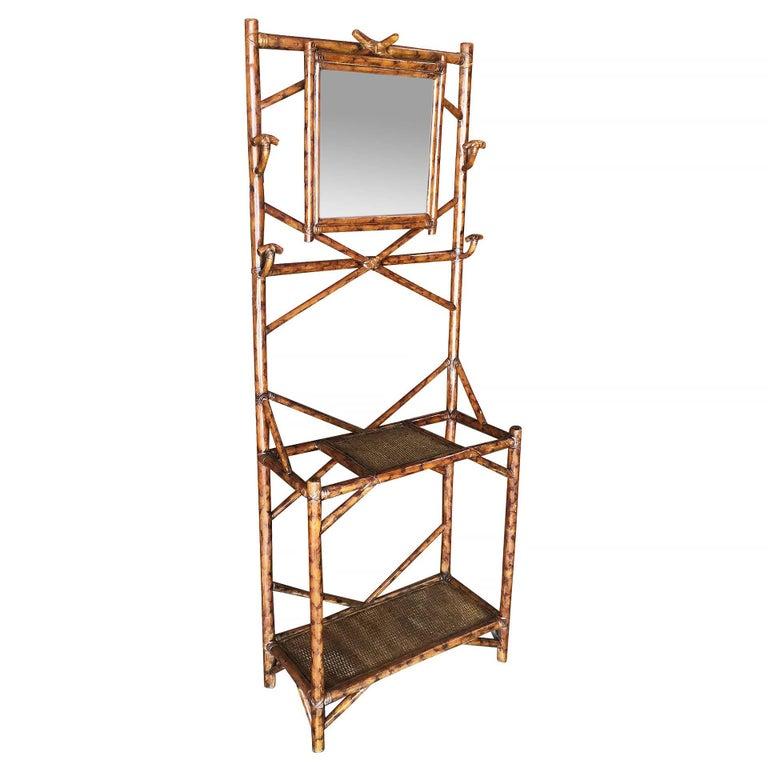 Tiger Bamboo Coat Rack Hall Tree with Mirror