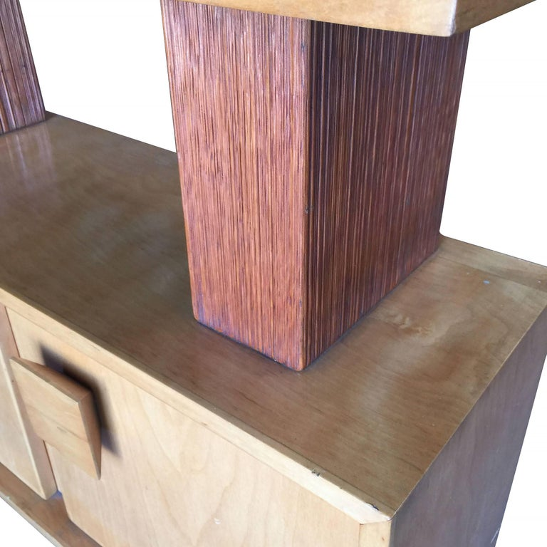 Paul Frankl Combed Wood Console Table Cabinet Brown Saltman ...