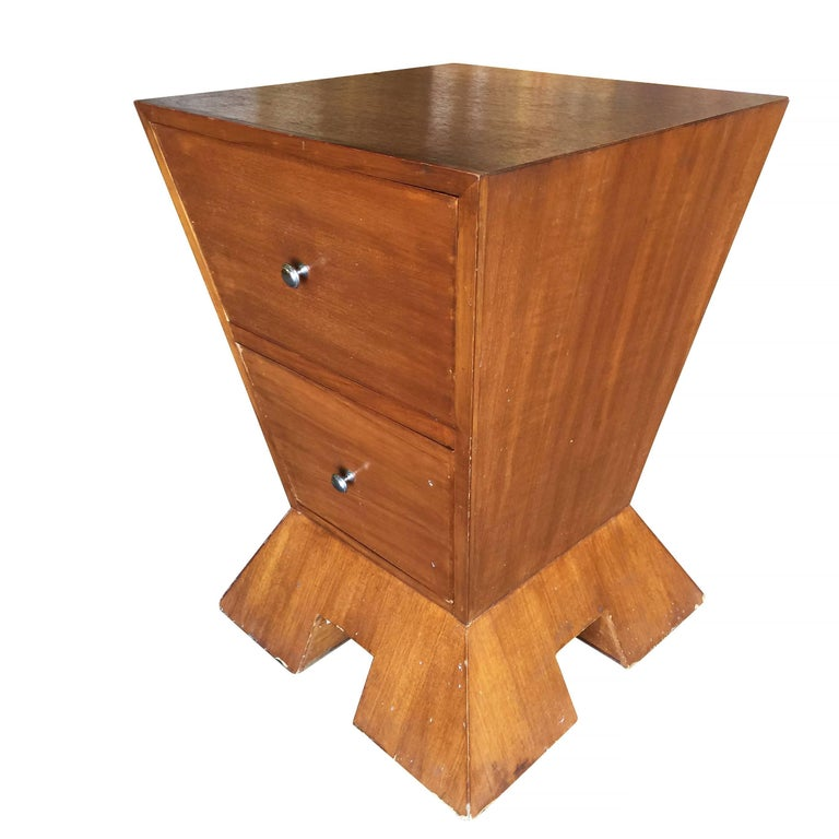 Modernist Midcentury Inverted Triangle Bedside Table For