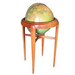 Mid-Century Mahogany Floor Globe by Replogle