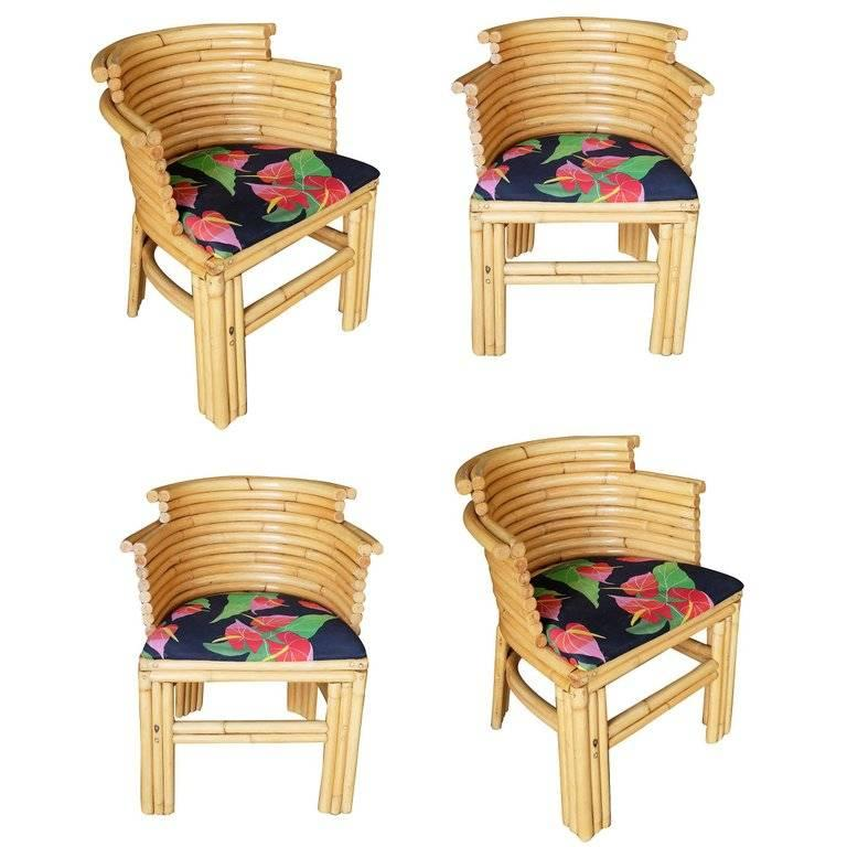 Restored Paul Frankl Streamlined Art Deco Rattan Dining Side Chair, Set of Four