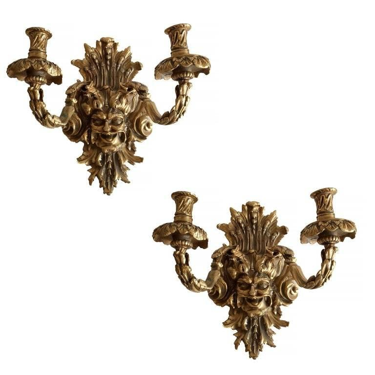 Empire Style Bacchus Face 24 Karat Gold Dore Bronze Candle Wall Sconce, Pair