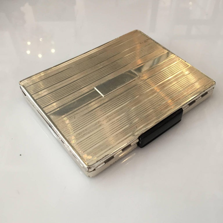 American Streamlined Sterling Silver Cigarette Case with Dispenser For Sale