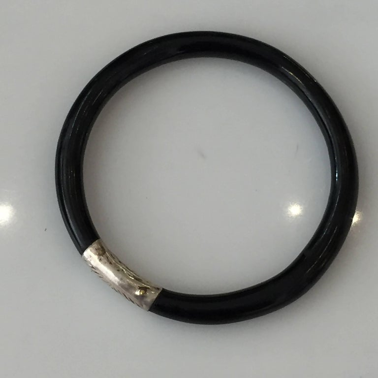 American Authentic Art Deco Black Bakelite Bangle Bracelet with Sterling Accent For Sale
