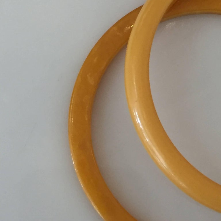 Set of Two Art Deco Butterscotch Amber Bakelite Bangles Bracelets In Excellent Condition For Sale In Van Nuys, CA