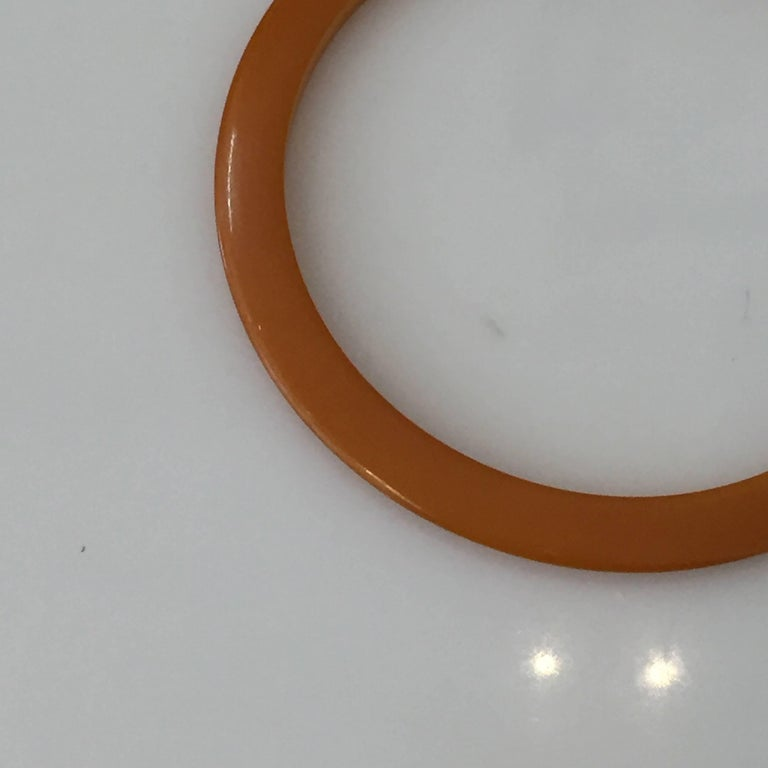 North American Authentic Art Deco Butterscotch Amber Bakelite Bangle Bracelet For Sale