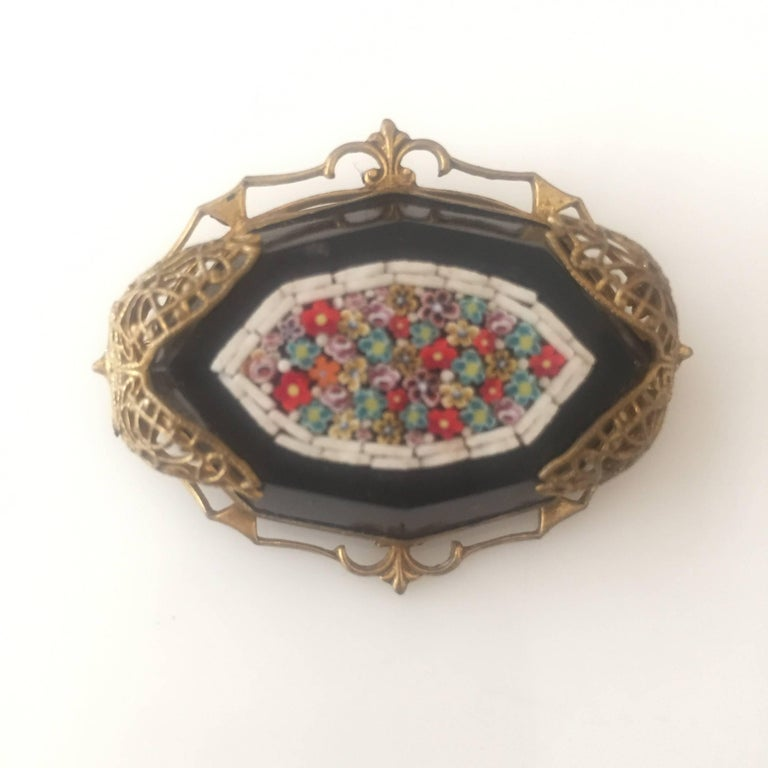 Late Victorian Murano Glass Mosaic On Black Jet Stone For