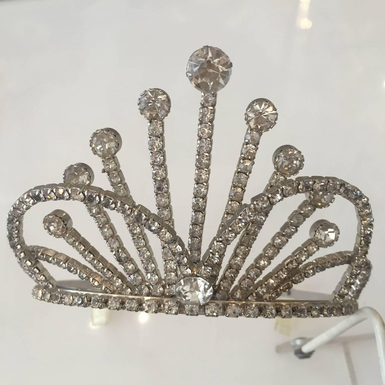 Vintage stainless steel and Rhinestone Tiara wedding crown, excellent quality,
