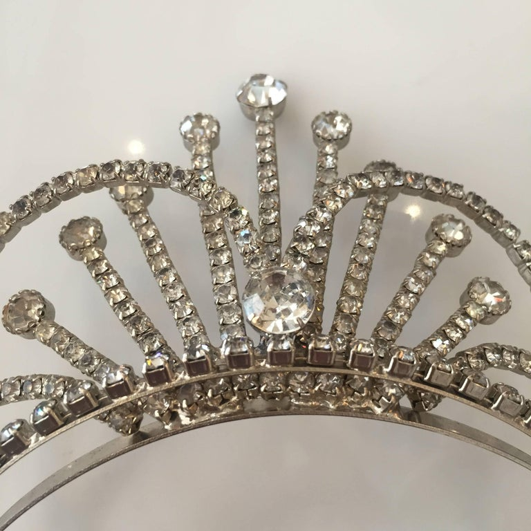 Mid-20th Century Rhinestone Tiara Wedding Crown, circa 1950 For Sale