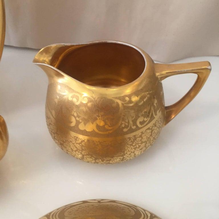 Mid-Century Modern Set of Five Antique 18-Karat Porcelain Table Tea Limouge and Signed Osborne For Sale