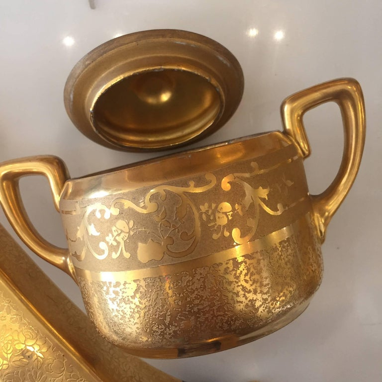 Gold Plate Set of Five Antique 18-Karat Porcelain Table Tea Limouge and Signed Osborne For Sale