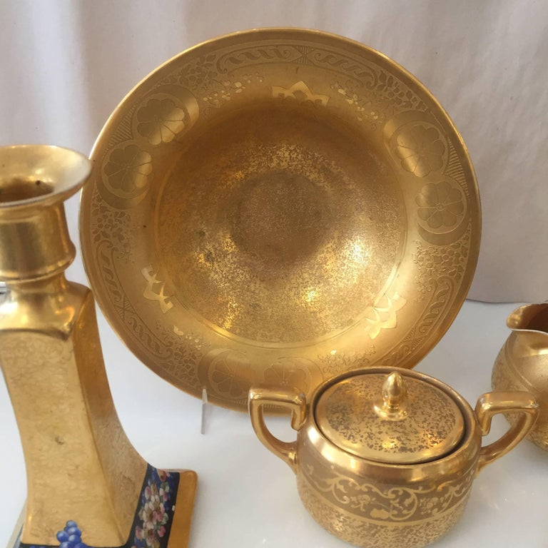 Set of Five Antique 18-Karat Porcelain Table Tea Limouge and Signed Osborne In Excellent Condition For Sale In Van Nuys, CA