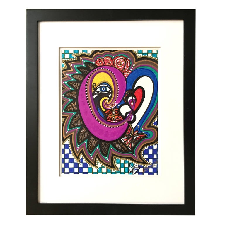 """Framed Abstract """"Just a Peak"""" Mixed-Media on Paper by Laurel Rosenberg"""