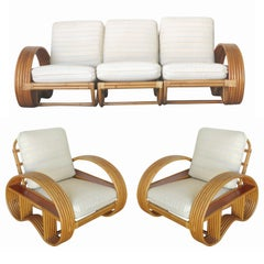 Restored Paul Frank Style Six-Strand Arm with Mahogany Shelf Sofa & Lounge Chair