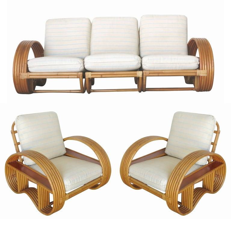 Restored Paul Frank Style Six-Strand Arm with Mahogany Shelf Sofa & Lounge Chair
