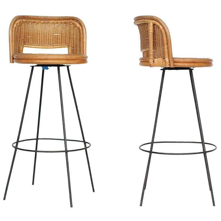 Seng Of Chicago Swivel Wicker And Iron Bar Stools Pair For