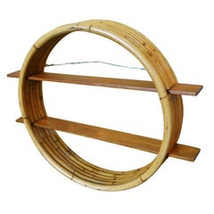 Midcentury Circular Rattan Wall Shelf with Mahogany Slat