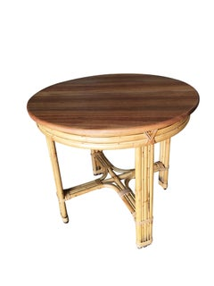 Restored X Pattern Round Rattan End Table with Mahogany Top