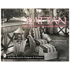 "Signed ""Rattan Furniture"" First Edition Coffee Table Book by Harvey Schwartz"