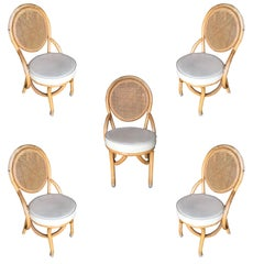 Restored Rattan Dining Side Chair with Woven Wicker Seat Back, Set of Five