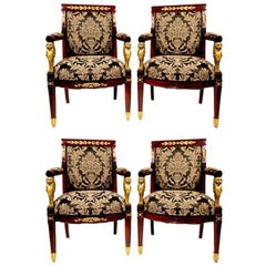 Set of Four Antique Regency Style Throne Armchairs