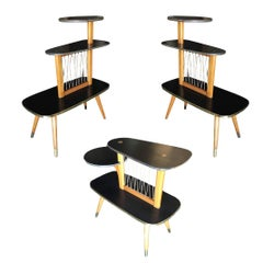 Three-Tier Midcentury Side Tables with String Art Center Design, Set of Three