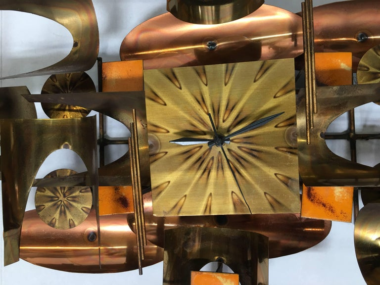 American William Vose for Curtis Jere Brass and Copper Brutalist Wall Sculpture Clock For Sale